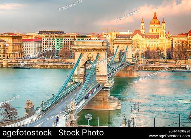 Hungary Budapest March 2018. The chain bridge view of the Basilica of St. Stephen view from the coast of Buda to Pest
