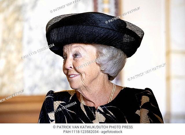 Princess Beatrix of The Netherlands attends the 79th meeting of Institut de Droit international (IDI) in the great court room of the Peace Palace in The Hague