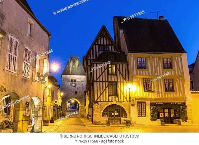 French village Noyers with frame houses at night, Yonne, Bourgogne, France