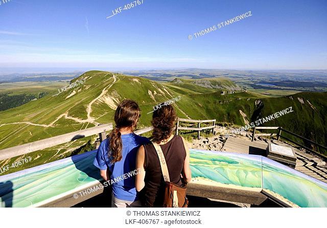 People on the Puy de Sancy volcano, Monts Dore, Volcano Auvergne, France, Europe