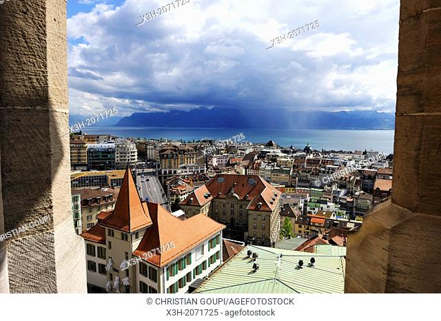 overview from the tower of the Cathedral of Notre Dame, Lausanne, Canton of Vaud, Switzerland, Europe