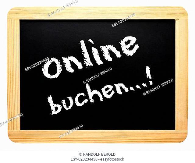 online buchen..! - Konzept Tafel - freigestellt