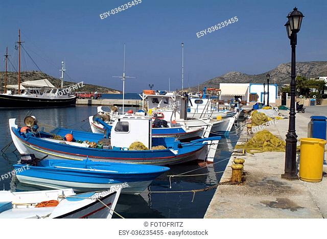 Greece, colourful fishing boats in the small harbour of Lipsi