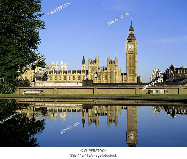 Government building on the waterfront, Big Ben, Houses of Parliament, London, England