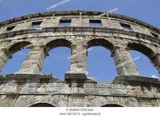 amphitheater, ruins, Roman, Romans, antiquity, antique, historical, town, city, Pula, Croatia, Europe, Istrien