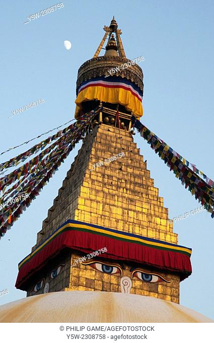 Boudhnath Stupa in the Kathmandu Valley, Nepal, in early evening. Boudhnath or Boudha or Bodhnath is a major destination of pilgrimage by Tibetan Buddhists