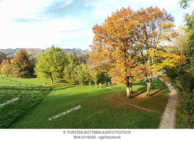 Autumn Trees in Botanica Recreational Park. Bad Schallerbach. Austria