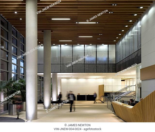ONE ANGEL LANE FLETCHER PRIEST WITH LIGHTING DESING BY WATERMAN ARCHITECTURAL LIGHTING 2010 OFFICE ENTRANCE LOBBY EXTERIOR VIEW INTO LOBBY, LONDON