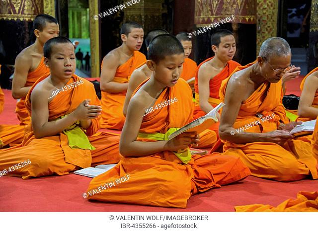 Buddhist monks praying in the temple Wat Xieng Thong, Luang Prabang, Laos