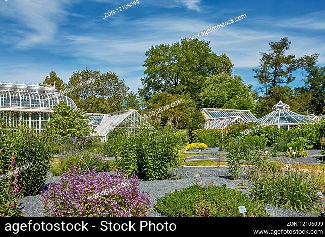 HELSINKI, FINLAND - JULY 10, 2017: Kaisaniemi botanic garden and its greenhouse in Helsinki Finland
