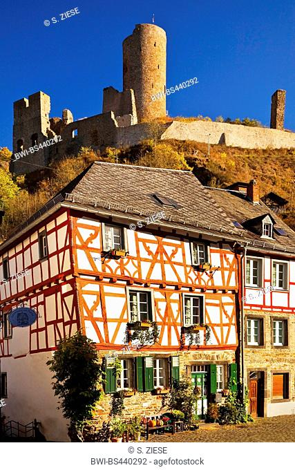 historical city of Monreal with ruin of castle Loewenburg, Germany, Rhineland-Palatinate, Eifel, Monreal