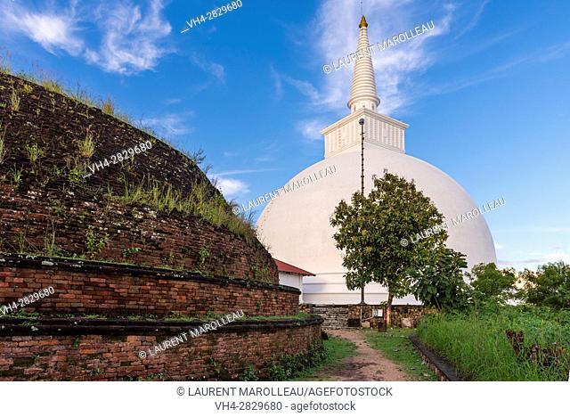 Mihindu Seya Stupa and Maha Seya Stupa in the background, Mihintale Monastery, Anuradhapura District, North Central Province, Sri Lanka, Asia