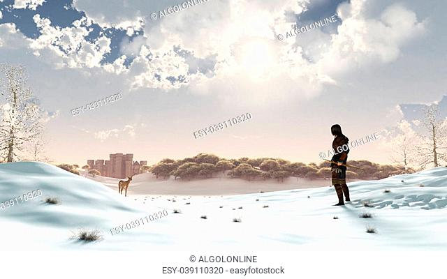 Hunter and deer in a snowy winter landscape with Distant Medieval castle, 3d digitally rendered illustration