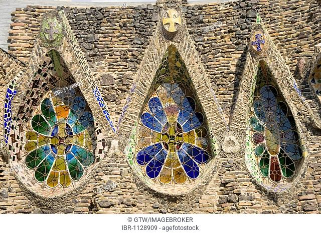 Detail of the windows, unfinished church of Colonia Gueell, Unesco World Heritage Site, Antonio Gaudi architect, Santa Coloma de Cervello, Barcelona, Catalonia