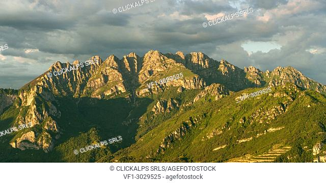Mount Resegone at sunset seen from Monte Barro, Lecco, Lombardy, Alps, Italy, Europe
