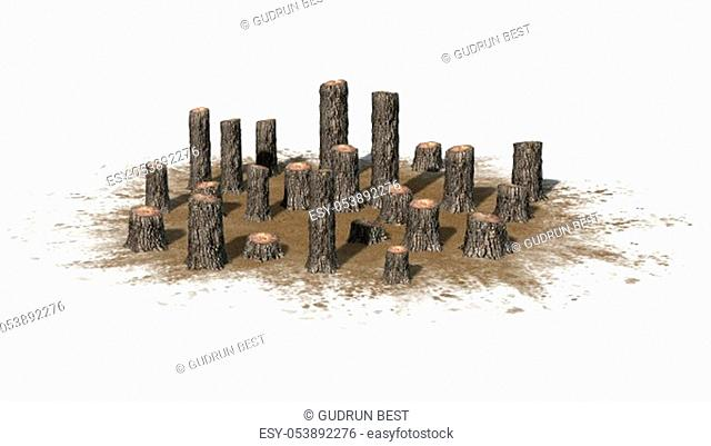 many several tree stumps on a sand area - isolated on white background - 3D illustration
