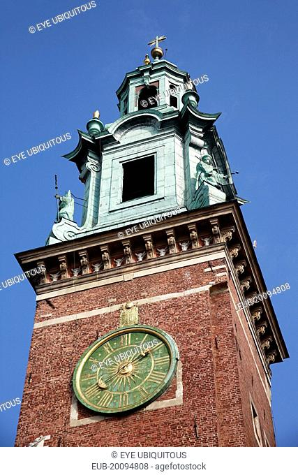 Wawel Hill National Sanctuary. Wawel Cathedral built 1320 -1364. Part view of clock tower exterior