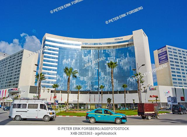 Place du Maghreb Arabe, with Hilton hotel and Tanger City Mall, Tangier, Morocco, Africa