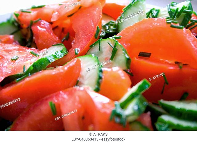 fresh vegetable salad from tomatoes and cucumbers
