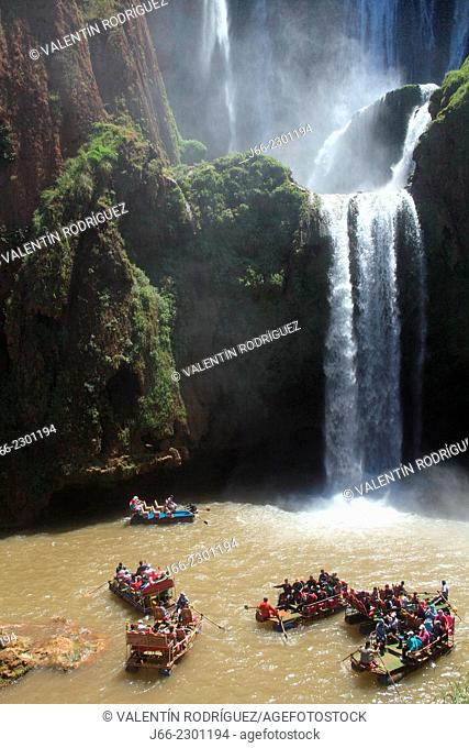 tourists at the waterfalls of Ouzoud. Morocco
