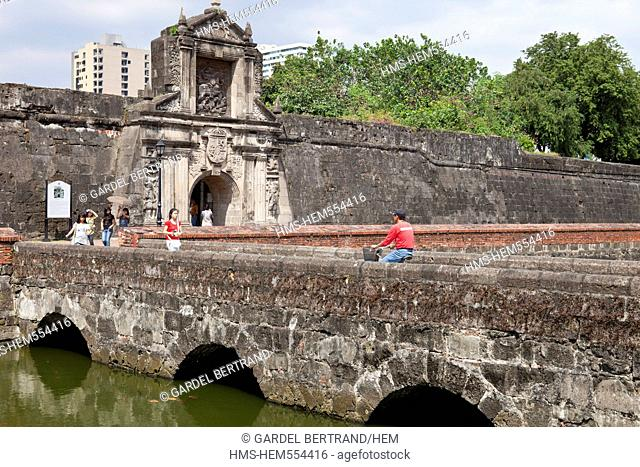 Philippines, Luzon island, Manila, Intramuros historic district, Fort Santiago, formerly the head of Spanish power