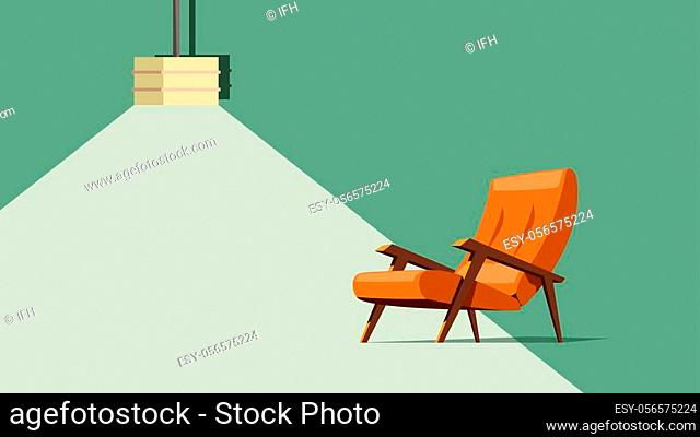 illustration of old modern armchair orange color with wooden elements and lamp on green background