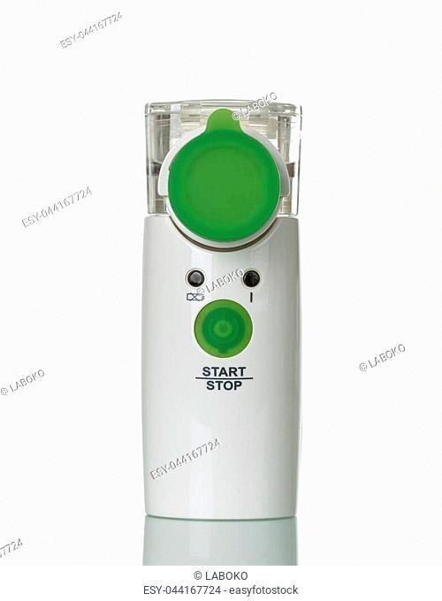 Modern membrane nebulizer for children, isolated on white background