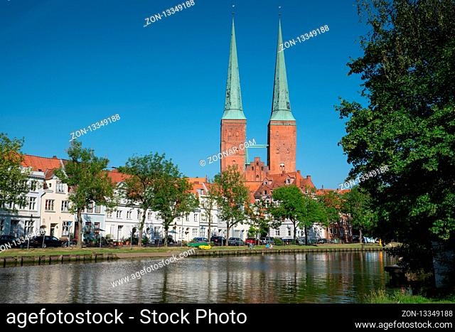 LUEBECK, GERMANY - JUNE 7, 2018: Cathedral of the Hanseatic City of Lübeck on June 7, 2018 in Germany, Europe