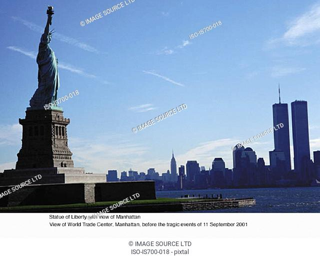 Statue of Liberty with view of Manhattan