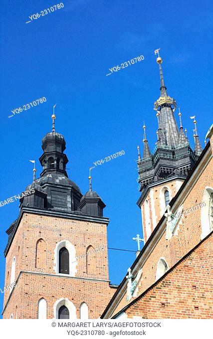 Architectural details of St Mary's Basilica in Krakow, Poland, Europe
