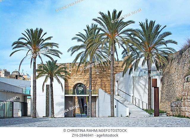 Exterior view of art museum Es Baluard with palm trees in Palma, Mallorca, Spain