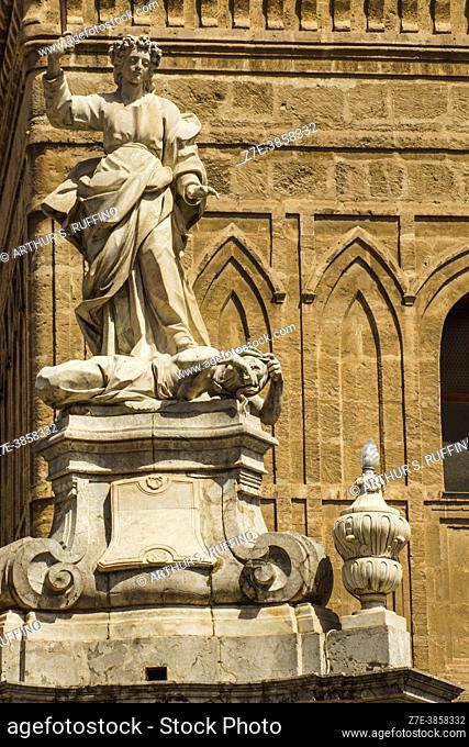 Saint Rosalia Monument. Detail. Saint Rosalia is the patron saint of Palermo. Palermo Cathedral Square, Palermo, Sicily, Italy, Europe