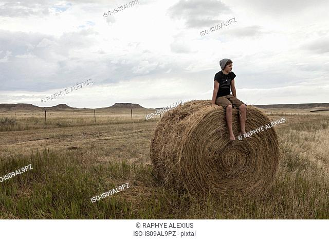 Teenage boy sitting on haystack in field, South Dakota, USA