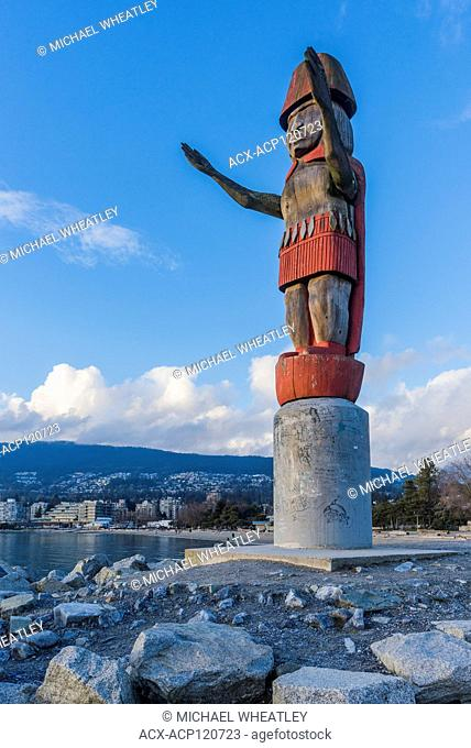Squamish Nation Welcome Figure, Ambleside Park, West Vancouver, British Columbia, Canada
