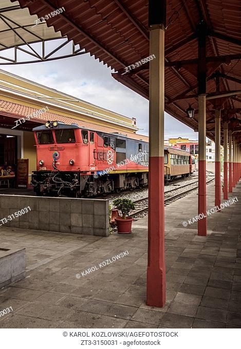 Train at Railway Station in Riobamba, Chimborazo Province, Ecuador