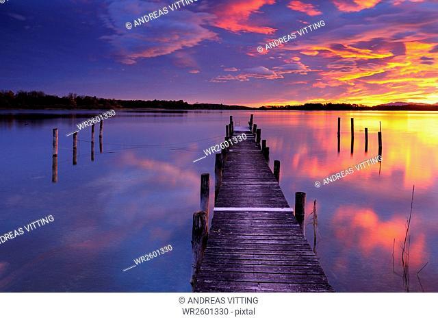 Sunrise at Chiemsee, footbridge, Bavaria, Germany