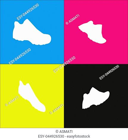 Boot sign. Vector. White icon with isometric projections on cyan, magenta, yellow and black backgrounds