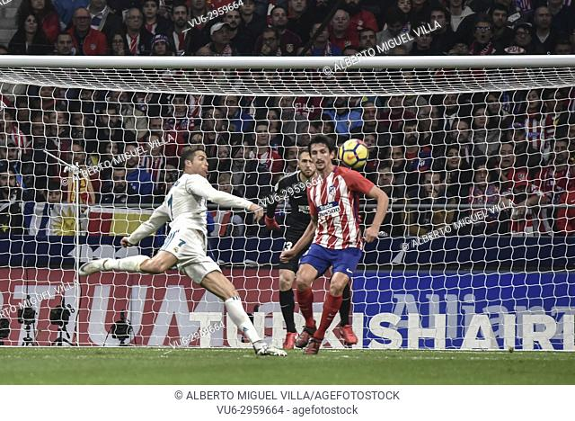 Football match between Atletico de Madrid vs Real Madrid at the Wanda Metropolitan Stadium, with a draw result at 0. Spanish football league