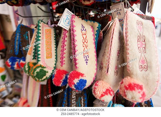 Close-Up shot of traditional babouches in a shop, Heraklion, Crete, Greek Islands, Greece, Europe
