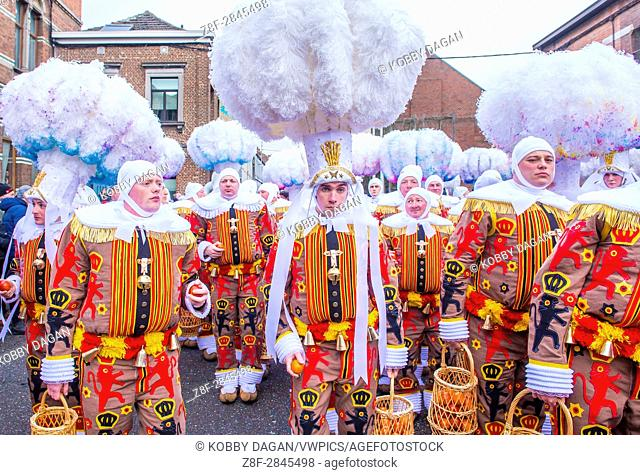 Participants in the Binche Carnival in Binche, Belgium. The Binche carnival is included in a list of intangible heritage by UNESCO