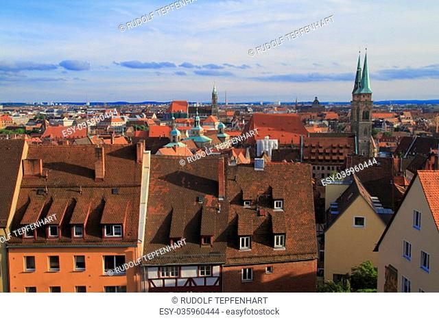 Panoramic view of Old Town in Nuremberg, Germany