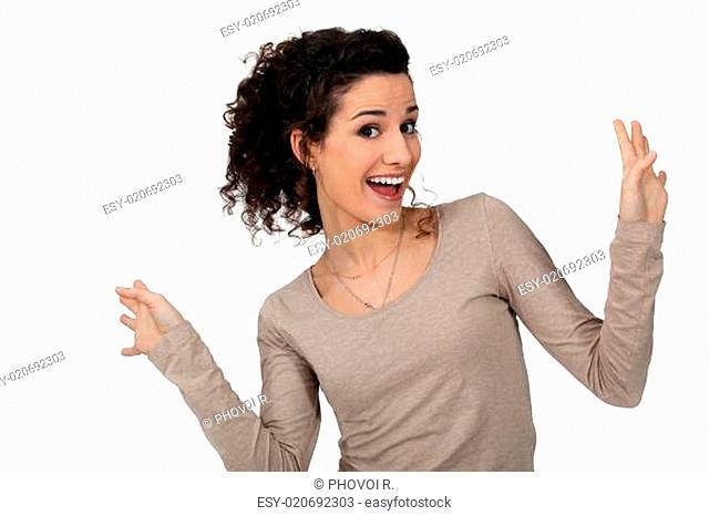Woman dancing with joy