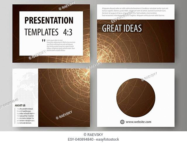 Set of business templates for presentation slides. Easy editable abstract vector layouts in flat design. Alchemical theme. Fractal art background