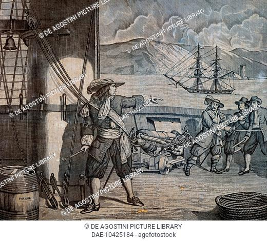 Pirate captain Jean Bart (1650-1702) on board a British ship, engraving on fabric by Bouquet, France, 17th century.  Paris