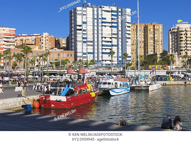 Malaga, Costa del Sol, Malaga Province, Andalusia, southern Spain. Excursion boats docked at Muelle Uno