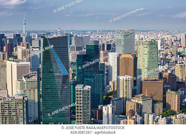 Japan, Tokyo City, Shimbashi area panorama