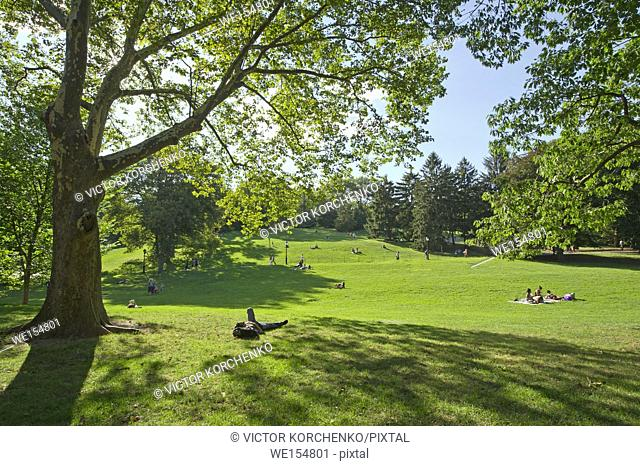 People resting on a grass lawn in Central Park