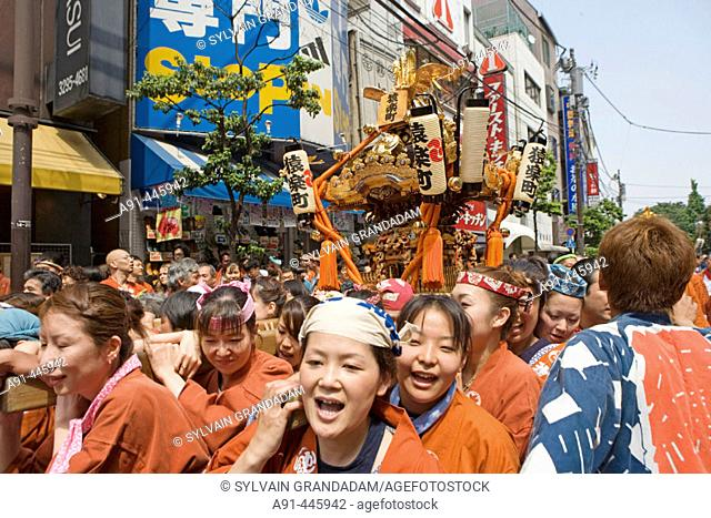 Yearly matsuri (festival) of Kanda shrine featuring a procession of many 'Mikoshi'  (mobile shrines).Tokyo. Japan