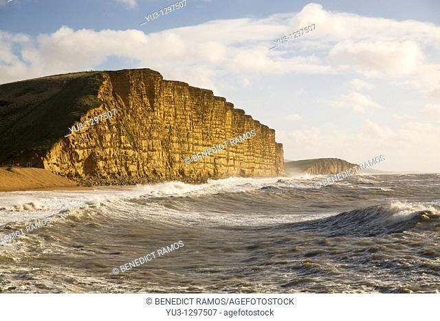 View of the East Cliffs, West Bay, near Bridport, Dorset, England, UK