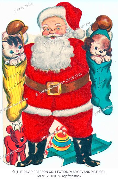Santa Claus with presents on a Christmas card